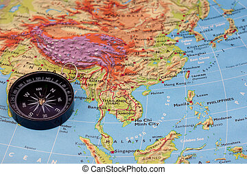 compass and south-east asia map