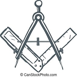 Compass and Square. Mason Sign. Vector