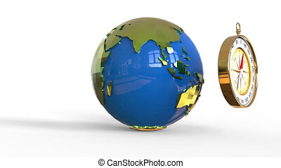 Compass and world globe isolated over white background with...