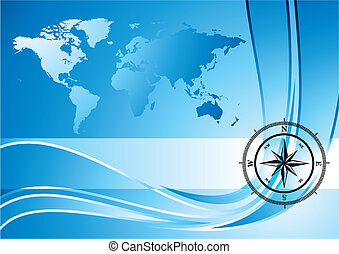 Compass background - Blue background with compass and world...