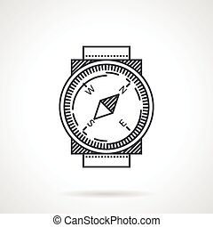 Compass black line vector icon