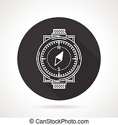 Compass black round vector icon