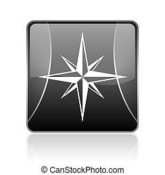compass black square web glossy icon