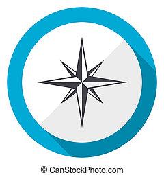 Compass blue flat design web icon