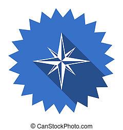 compass blue flat icon