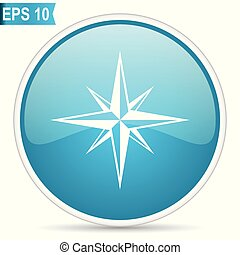 Compass blue glossy round vector icon in eps 10. Editable modern design internet button on white background.