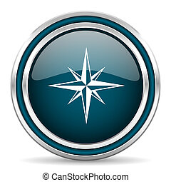 compass blue glossy web icon