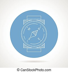 Compass blue round vector icon