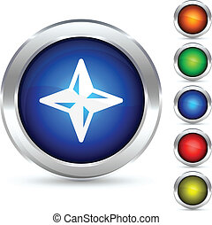 Compass button. - Compass detailed button. Vector ...