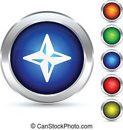 Compass button. - Compass detailed button. Vector ...