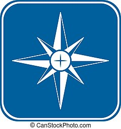 Compass button on white background.