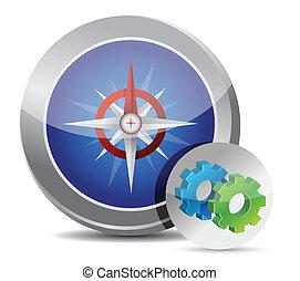 Compass button gear illustration de