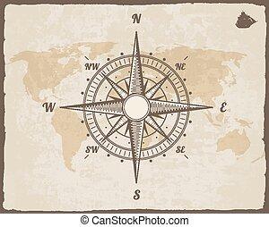 compass., carte, vecteur, vieux, frame., mondiale, vendange...