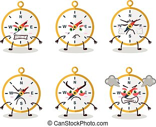 Compass cartoon character with various angry expressions