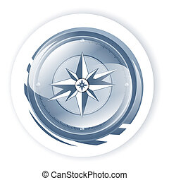 Compass  - Blue Compass Over White background