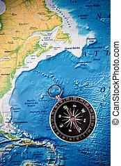 Compass - compass on world map
