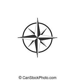 Compass, compass rose, navigation icon. Vector illustration, flat design.