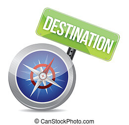 compass destination guidance illustration binary graphic...