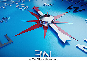 Compass Direction, Blue Tint Background, 3d rendering