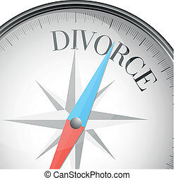 compass divorce - detailed illustration of a compass with...