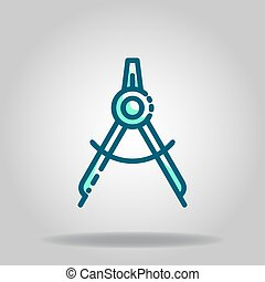 compass drawing icon or logo in  twotone - Logo or symbol of...