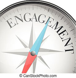 detailed illustration of a compass with engagement text, eps10 vector