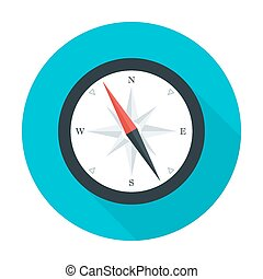 Compass flat circle icon with long shadow