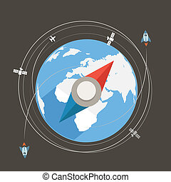 Compass flat design vector illustration