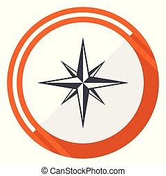 Compass flat design vector web icon. Round orange internet button isolated on white background.