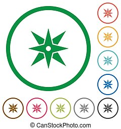 Compass flat icons with outlines