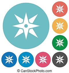 Compass flat round icons
