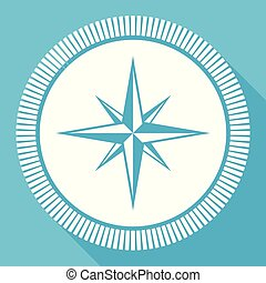 Compass flat vector icon, navigation square blue web button
