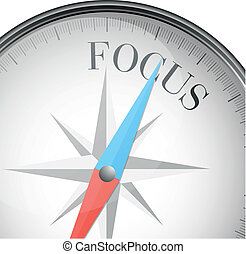 detailed illustration of a compass with focus text, eps10 vector