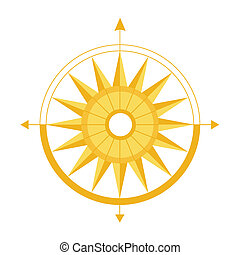 Compass for definition of parts of the world. A vector illustration