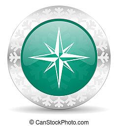 compass green icon, christmas button
