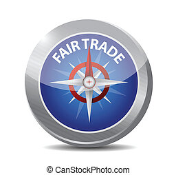 compass guide to fair trade. illustration design over white