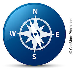 Compass icon blue round button
