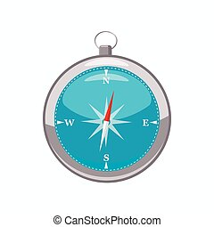 Compass icon, cartoon style