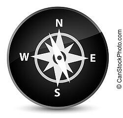 Compass icon elegant black round button