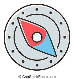 Compass icon, flat style