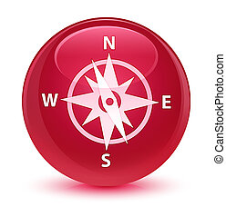 Compass icon glassy pink round button