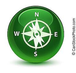 Compass icon glassy soft green round button