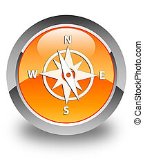 Compass icon glossy orange round button