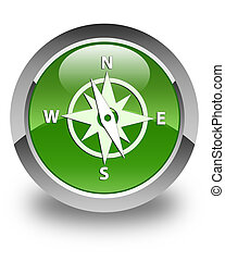 Compass icon glossy soft green round button