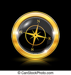 Compass icon - Golden shiny icon on black background -...