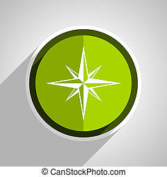 compass icon, green circle flat design internet button, web and mobile app illustration