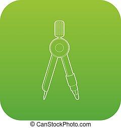 Compass icon green vector