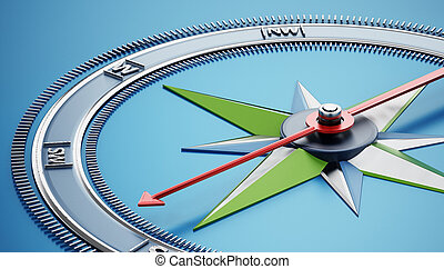 Compass icon isolated on blue background. 3D illustration