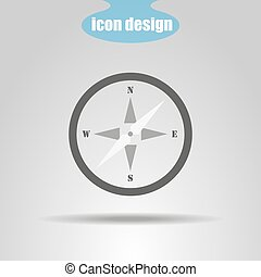 Compass icon on a gray background. Vector illustration