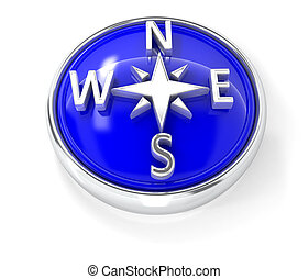Compass icon on glossy blue round button